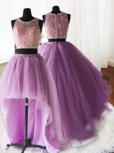 Three Piece Scoop Sleeveless Brush Train Zipper Ball Gown Prom Dress Lilac Organza and Tulle and Lace