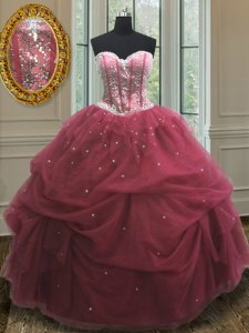Sleeveless Floor Length Sequins and Pick Ups Lace Up 15th Birthday Dress with Burgundy