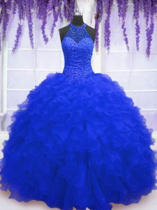 High End Sequins Royal Blue Sleeveless Organza Lace Up Quinceanera Gown for Military Ball and Sweet 16 and Quinceanera
