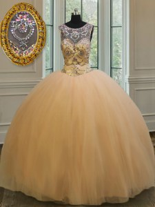 Scoop Sleeveless Floor Length Beading and Appliques Backless 15 Quinceanera Dress with Gold