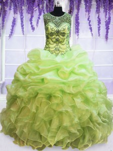 Exquisite Scoop Pick Ups Yellow Green Sleeveless Organza Lace Up 15th Birthday Dress for Military Ball and Sweet 16 and Quinceanera