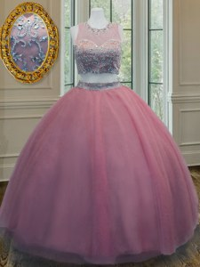 Smart Pink Tulle Zipper Scoop Sleeveless Floor Length Quinceanera Gown Ruffled Layers and Sashes ribbons