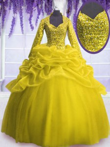 Hot Selling Sequins and Pick Ups Quinceanera Dresses Yellow Zipper Long Sleeves Floor Length