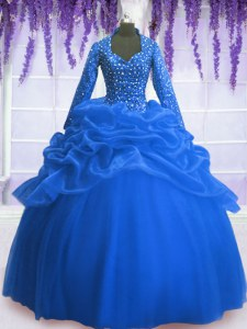Sequins Pick Ups Blue Long Sleeves Organza Zipper Quinceanera Gown for Military Ball and Sweet 16 and Quinceanera