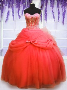 Coral Red Ball Gowns Beading and Bowknot 15 Quinceanera Dress Lace Up Tulle Sleeveless Floor Length