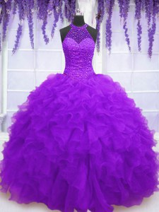 Super Purple Lace Up High-neck Beading and Ruffles Quinceanera Gowns Organza Sleeveless