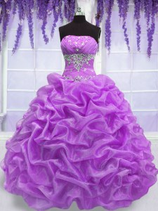 Modern Lilac Lace Up Quince Ball Gowns Beading Sleeveless Floor Length