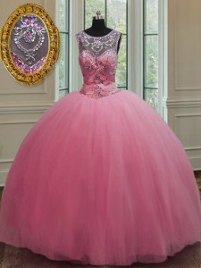 Designer Ball Gowns Quinceanera Dresses Rose Pink Scoop Tulle Sleeveless Floor Length Lace Up