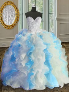 Extravagant Blue And White Sleeveless Beading and Ruffles Floor Length 15 Quinceanera Dress