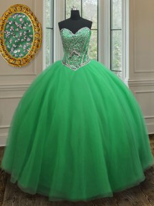 Tulle Sweetheart Sleeveless Lace Up Beading 15 Quinceanera Dress in Green