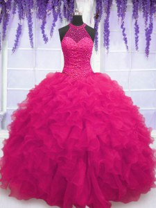 Dramatic Sleeveless Floor Length Beading and Ruffles Lace Up Quinceanera Gown with Hot Pink