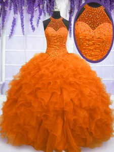 Enchanting Orange Red Ball Gowns Organza High-neck Sleeveless Beading and Ruffles Floor Length Lace Up 15 Quinceanera Dress