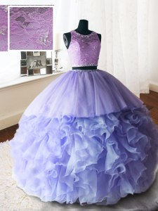 Wonderful Brush Train Ball Gowns Quinceanera Gowns Lavender Scoop Organza and Tulle and Lace Sleeveless With Train Zipper