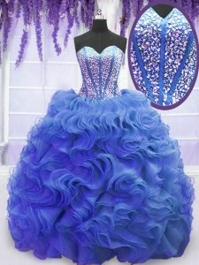 Fine Royal Blue Sweet 16 Dresses Organza Sweep Train Sleeveless Beading and Ruffles