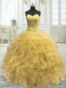 Fashion Light Yellow Ball Gowns Sweetheart Sleeveless Organza Floor Length Lace Up Beading and Ruffles 15th Birthday Dress
