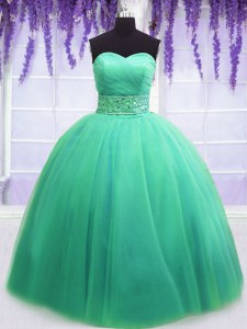 Cute Sleeveless Tulle Floor Length Lace Up Quinceanera Dresses in Turquoise with Beading and Belt