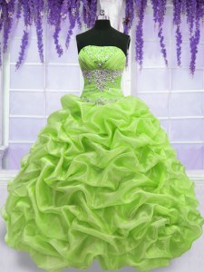 Yellow Green Sleeveless Beading and Pick Ups Floor Length 15th Birthday Dress