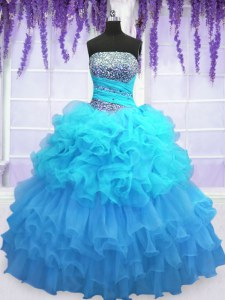 Aqua Blue Organza Lace Up Strapless Sleeveless Floor Length Sweet 16 Dresses Beading and Ruffled Layers and Pick Ups