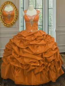 Sophisticated Straps Sleeveless Taffeta Floor Length Lace Up Ball Gown Prom Dress in Orange with Beading and Pick Ups