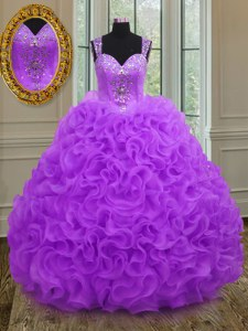 Edgy Straps Purple Sleeveless Beading and Ruffles Floor Length Sweet 16 Quinceanera Dress