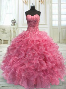 Cute Rose Pink Sweetheart Lace Up Beading and Ruffles Sweet 16 Quinceanera Dress Sleeveless