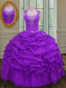 Adorable Straps Sleeveless 15 Quinceanera Dress Floor Length Beading and Pick Ups Purple Taffeta