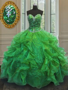 Sleeveless Floor Length Beading and Ruffles Lace Up Quinceanera Dresses with