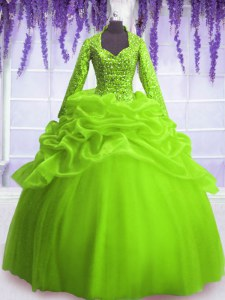 Low Price Long Sleeves Zipper Floor Length Sequins and Pick Ups Quinceanera Gowns