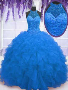 Most Popular Sleeveless Zipper Floor Length Beading and Ruffles Quinceanera Gown
