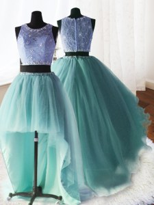 Three Piece Scoop With Train Apple Green Sweet 16 Quinceanera Dress Organza and Tulle and Lace Brush Train Sleeveless Beading and Ruffles
