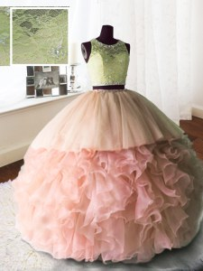 Scoop With Train Baby Pink Quinceanera Dress Organza and Tulle and Lace Brush Train Sleeveless Beading and Lace and Ruffles