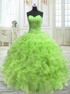 High Class Yellow Green Lace Up 15th Birthday Dress Beading and Ruffles Sleeveless Floor Length
