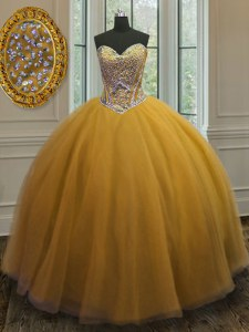 Gorgeous Beading Quinceanera Dress Gold Lace Up Sleeveless Floor Length