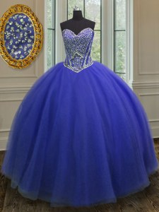 Beauteous Floor Length Royal Blue Quinceanera Dress Sweetheart Sleeveless Lace Up