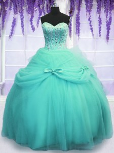 Sleeveless Tulle Floor Length Lace Up Vestidos de Quinceanera in Aqua Blue with Beading and Sequins and Bowknot