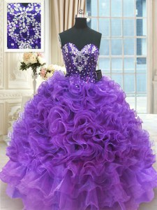 New Arrival Floor Length Ball Gowns Sleeveless Purple Quinceanera Dresses Lace Up