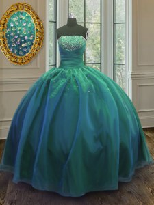 Teal Strapless Neckline Sequins Quinceanera Gown Sleeveless Lace Up