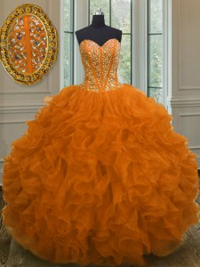 Flirting Orange Red 15th Birthday Dress Military Ball and Sweet 16 and Quinceanera and For with Beading and Ruffles Sweetheart Sleeveless Lace Up