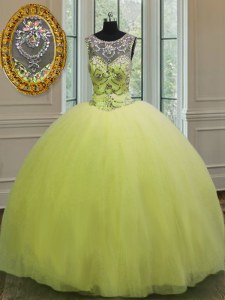 Sleeveless Tulle Floor Length Lace Up Vestidos de Quinceanera in Yellow Green with Beading