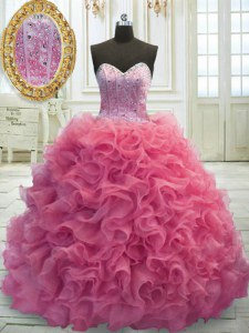 Sweet Rose Pink Ball Gowns Sweetheart Sleeveless Organza Mini Length Sweep Train Lace Up Beading and Ruffles Quince Ball Gowns
