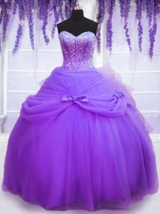 Fine Floor Length Lace Up Quinceanera Dresses Lavender and In with Beading and Bowknot