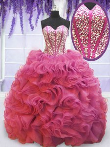Pink Organza Lace Up Sweetheart Sleeveless Quinceanera Gown Sweep Train Beading and Ruffles