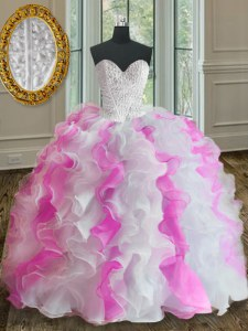 Trendy White and Pink Ball Gowns Organza Sweetheart Sleeveless Beading and Ruffles Floor Length Lace Up 15 Quinceanera Dress