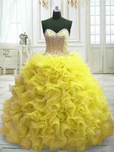 Perfect Yellow Ball Gowns Sweetheart Sleeveless Organza Sweep Train Lace Up Beading and Ruffles Quince Ball Gowns