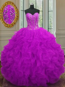 Superior Sweetheart Sleeveless Lace Up 15 Quinceanera Dress Purple Organza