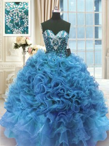 Top Selling Blue Sweetheart Neckline Beading and Ruffles Sweet 16 Dresses Sleeveless Lace Up