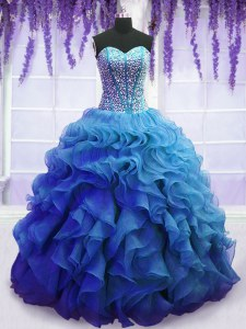 Blue Sweetheart Lace Up Beading and Ruffles Vestidos de Quinceanera Sleeveless