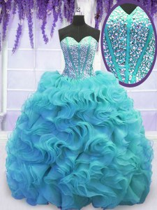 Sweetheart Sleeveless Vestidos de Quinceanera Sweep Train Beading and Ruffles Aqua Blue Organza