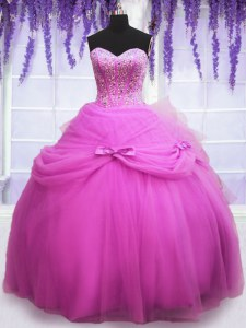 Beauteous Lilac Ball Gowns Tulle Sweetheart Sleeveless Beading and Sequins and Bowknot Floor Length Lace Up Ball Gown Prom Dress