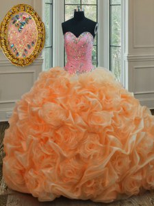 Orange Organza Lace Up Sweetheart Sleeveless Floor Length Sweet 16 Dresses Beading